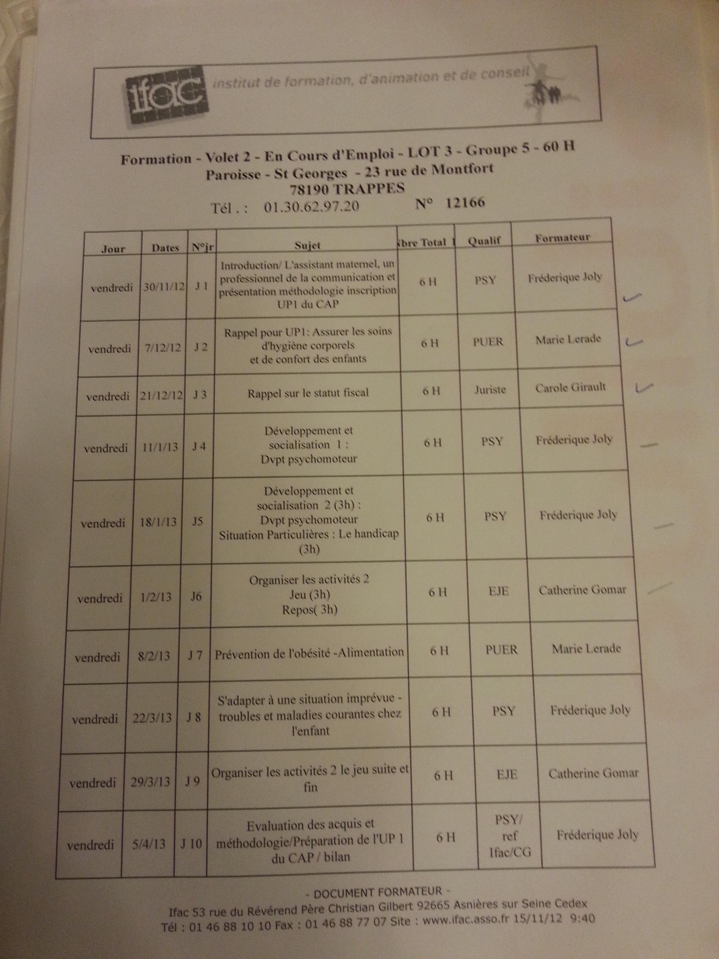 Les programmes de formation pour les Yvelines sessions 2010 et 2013